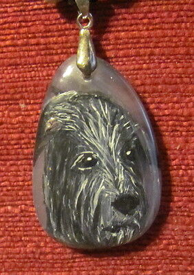 Scottish Deerhound hand painted on Agate pendant/bead/necklace