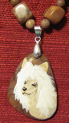 Chinese Crested hand  painted on a freeform Jasper pendant/bead/necklace