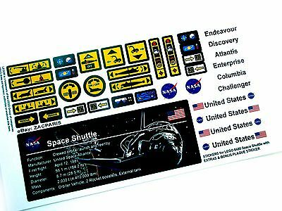 CUSTOMISED STICKERS for Lego 8480 Space Shuttle , MODELS, ETC + PLAQUE & EXTRA'S