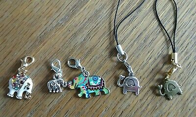 Lot of 5 Elephant Charms Necklace Zipper Lobster Clasp  ANIMAL RESCUE DONATION