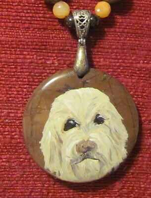 Otterhound hand paitnted on round gemstone pendant/bead/necklace