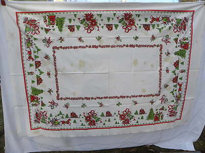 Lg Vint Rectangle Christmas Tablecloth for Cutter Horses Sleighs Carolers Bells