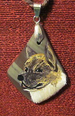 Akita hand painted onwedge shaped gemstone pendant/bead/necklace