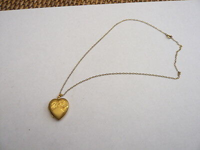 Vintage Rolled Gold Necklace Chain With Rolled Gold Heart Locket Pendant