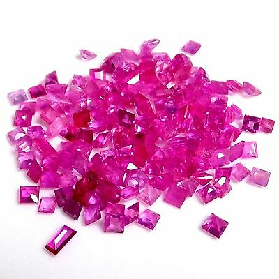 NATURAL TOP HOT PINK RUBY LOOSE GEMSTONES (5pieces) SQUARE PRINCESS-CUT