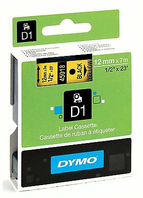 Dymo D1 Label Tape 45018 12mm x 7m Black on Yellow S0720580 - Genuine