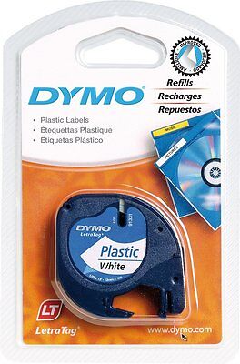 Dymo 91201 White Plastic 12mm x 4m for DYMO LETRATAG Label Makers S0721610