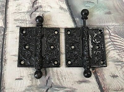 "2 Vintage Black Cast Iron FANCY ORNATE Ball Top Door Hinges 3"" x 3"""