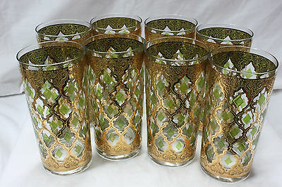 Signed Mid Century Modern 22K Gold Green Culver Valencia Highball Glasses Set 8