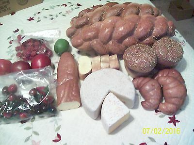 Group of Realistic Plastic Faux Food for staging display,Bread,Cheese&Fruit,EUC