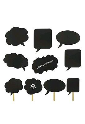 NEW 10 x Speech Chalk Board Selfie Photo Booth Props Birthday FUN Party Ideas UK