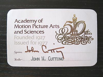 Vtg Academy Of Motion Picture Arts & Sciences~1977~50Th Anniversary~Membercard