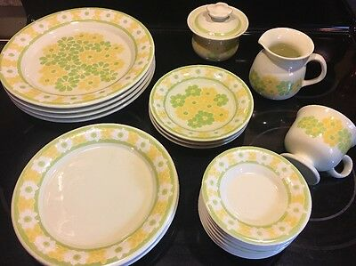 Vintage FRANCISCAN Picnic Pattern Modern Yellow Green Daisy Flower 20 Pieces