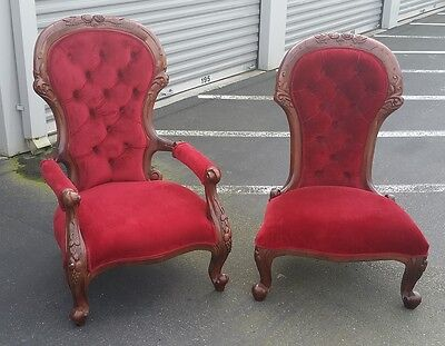 Antique Velvet Upholstered Parlor Chairs