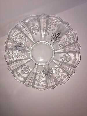 Navarre Large Console Bowl Fostoria Clear Etched Glass 1937 Elegant 11.5 Inch