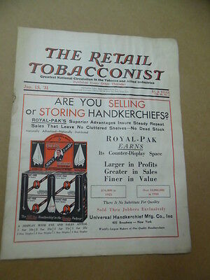 1931 THE RETAIL TOBACCONIST Tobacco Cigar Shop Magazine Jan 15th Vintage Smoking