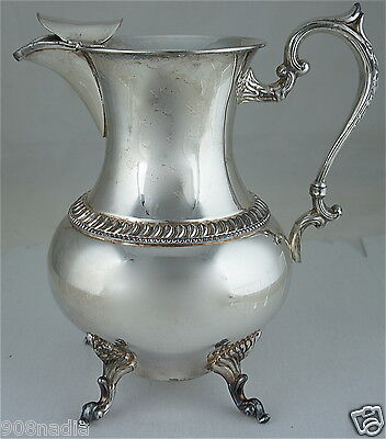 Antique Silver On Copper Plated Water/ Wine Pitcher/ Jug W/ Ice Lip
