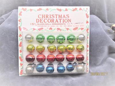 Vintage Unopened Package Of 24 Small Glass Ball Christmas Ornaments Taiwan Nos