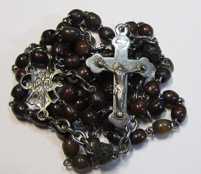"""† SCARCE c1800s ANTIQUE BOVINE HAND CARVED FRENCH SMALL STEEL ROSARY 20 1/2"""" †"""