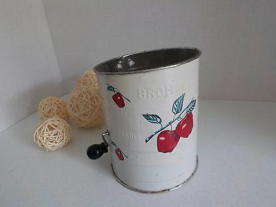Vintage Bromwell's Tin Flour Sifter Measuring Apple or Cherry Design Retro