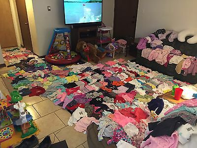 Huge Lot 392 Piece Baby Girl Clothes Lot From 0-18 Months Receiving Blankets