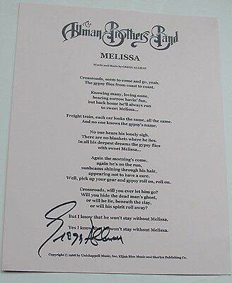 """Allman Brothers Signed Lyric Sheet """" Melissa """" By Gregg Allman Fillmore East SEE"""