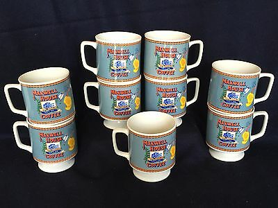 (9) Maxwell House Vintage 1970s Porcelain Fine China Coffee Cups Pedestal Mugs