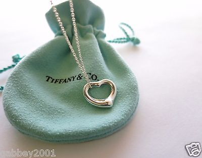 """Tiffany & Co. Small Open Heart Sterling Silver Pendant 16"""" Necklace w/ Pouch"""