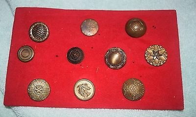 NK-030 - Ten Vintage Brass Sewing Buttons Ornate, Antique All Different Large