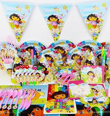 Dora The Explorer Kids Birthday Party Supplies Set Napkins Hats Plates Cups
