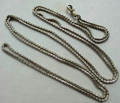 "antique Victorian 53"" very long guard fancy box chain necklace gold tone -C766"