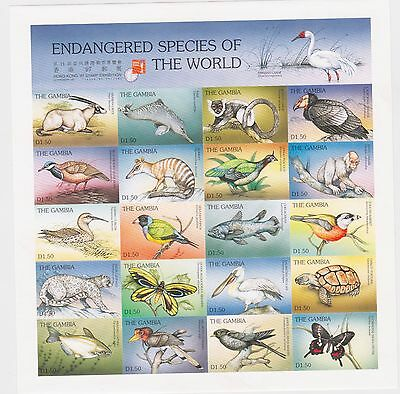 Gambia - Endangered Species of the World, 1997 - Sc 1871 SHTLT of 20 IMPERFORATE