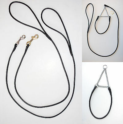 Clearance - Show Dog Leads & Collars - Hand Made Black Round Leather