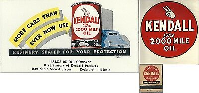 Kendall 2000 Mile Oil Collection Original 1930's-50's Old Stock