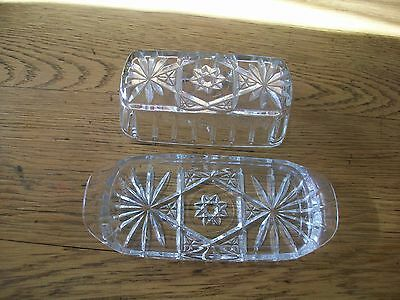Vintage Early American Prescut Rectangle 1/4 Pd Butter Dish  Star Of David