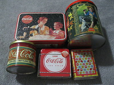 5 Coca Cola Metal Tin Lot Incs 2 Puzzles Sealed Coaster Set Mothers Box See Pics
