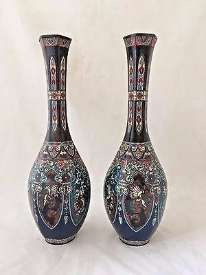 Pair Of Japanese Meiji Cloisonne Vases