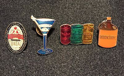 SET of 4 Lapel PINBACK: Budweiser, Martini, Beer Cans incl Schlitz, Moonshine up