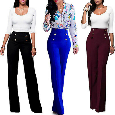 Women's Palazzo High Waist Flared Wide Leg OL Career Button Long Trousers Pants