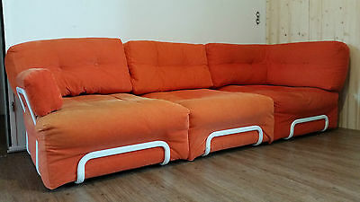 wohnlandschaft couch sofa 60er 70er design orange mid. Black Bedroom Furniture Sets. Home Design Ideas
