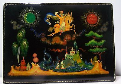 Beautiful Large Russian Lacquer Painted Box, Palekh 1977