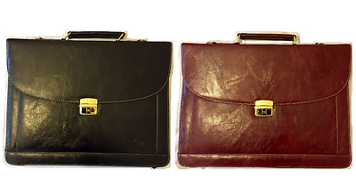 Briefcase Leather Brown Or Black Office Work Business Bag Laptop