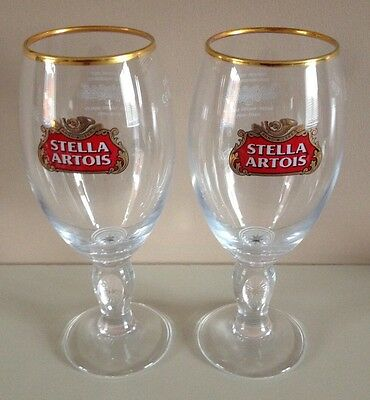 2 x New Stella Artois Pint Chalice Glasses