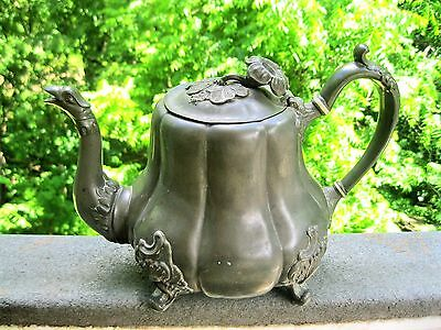 Antique Pewter Art Nouveau Tea/coffee Pot Flower Finial Dragon Spout