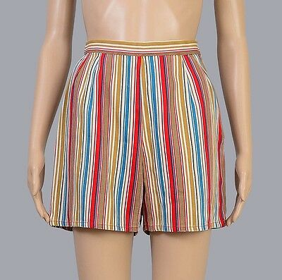 Vintage 60s STRIPE cotton shorts retro rockabilly pin up high waist hot pants XS