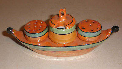Vintage Japanese Lusterware Porcelain Salt Pepper, Condiment Set  Boat