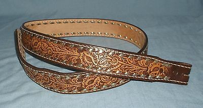 "Tooled Leather Western Belt w/ Name Blank Silver Lacing 41"" to 44"""
