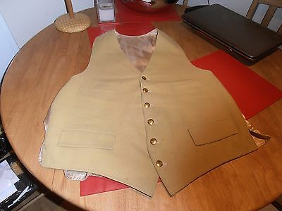 """Vtg Mustard Hunting Waistcoat with Surrey Union Hunt Brass  Buttons Size 44"""""""