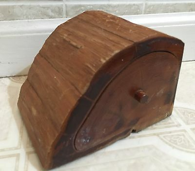 "Antique Cedar Wood Puzzle Box Jewelry Trinket Carved ~5.5x3.5x4"" Multiple Trays"