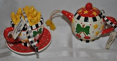 Mary Engelbreit Miniature Teapot  & Cup Ornament Cherries Stars with tags Adler